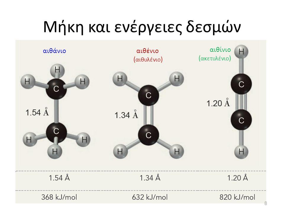 Μήκη και ενέργειες δεσμών αιθάνιοαιθένιο ( αιθυλένιο ) αιθίνιο ( ακετυλένιο ) 8
