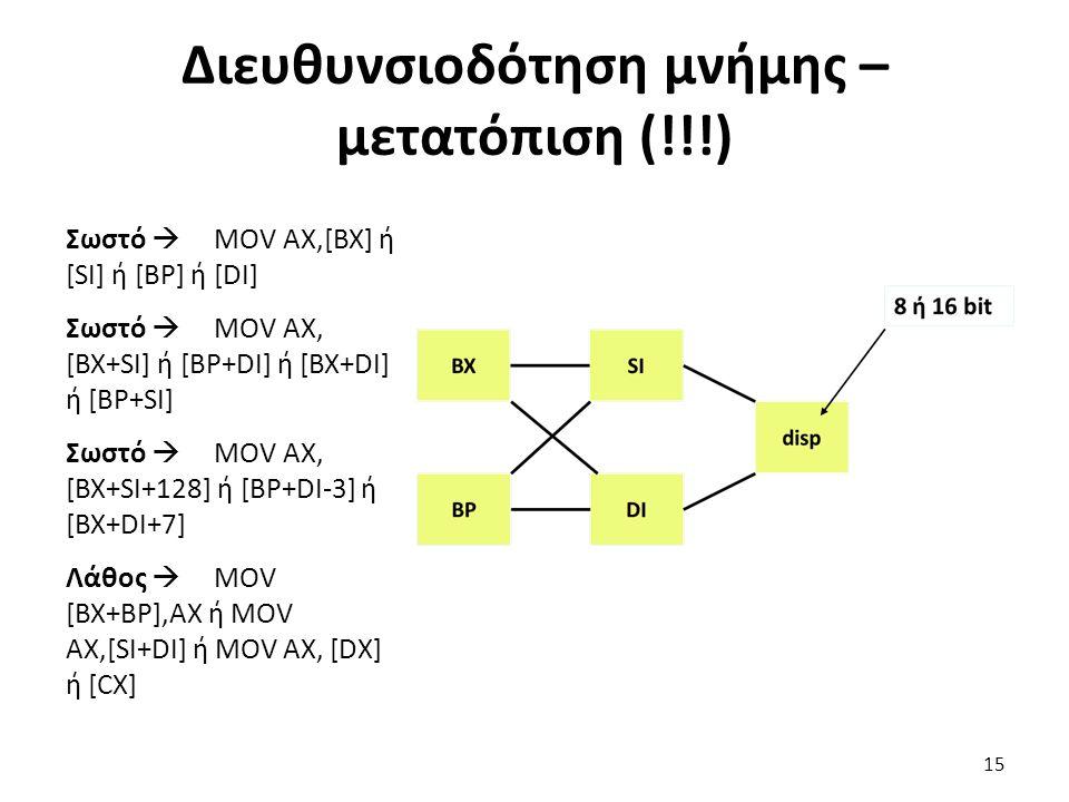 Σωστό  MOV AX,[BX] ή [SI] ή [BP] ή [DI] Σωστό  MOV AX, [BX+SI] ή [BP+DI] ή [BX+DI] ή [BP+SI] Σωστό  MOV AX, [BX+SI+128] ή [BP+DI-3] ή [BX+DI+7] Λάθος  MOV [BX+BP],AX ή MOV AX,[SI+DI] ή MOV AX, [DX] ή [CX] Διευθυνσιοδότηση μνήμης – μετατόπιση (!!!) 15