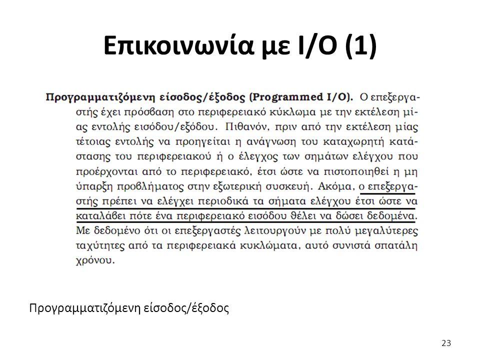Προγραμματιζόμενη είσοδος/έξοδος Επικοινωνία με Ι/Ο (1) 23