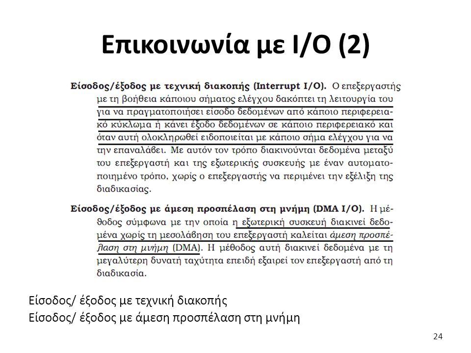Είσοδος/ έξοδος με τεχνική διακοπής Είσοδος/ έξοδος με άμεση προσπέλαση στη μνήμη Επικοινωνία με Ι/Ο (2) 24