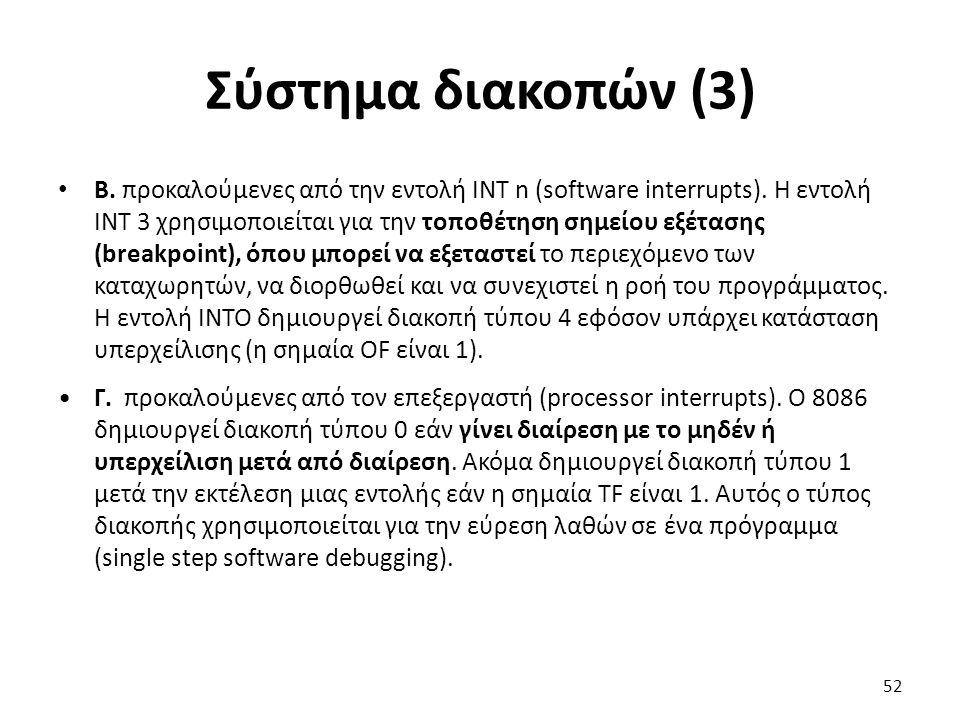 Σύστημα διακοπών (3) Β. προκαλούμενες από την εντολή ΙΝΤ n (software interrupts). Η εντολή ΙΝΤ 3 χρησιμοποιείται για την τοποθέτηση σημείου εξέτασης (