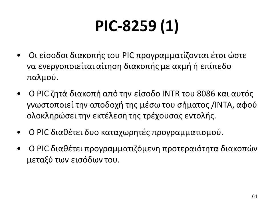PIC-8259 (1) Οι είσοδοι διακοπής του PIC προγραμματίζονται έτσι ώστε να ενεργοποιείται αίτηση διακοπής με ακμή ή επίπεδο παλμού. Ο PIC ζητά διακοπή απ