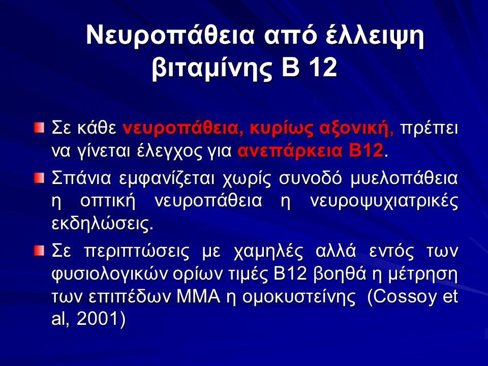 Νευροπάθεια από έλλειψη βιταμίνης Β 12 Νευροπάθεια από έλλειψη βιταμίνης Β 12 Σε κάθε νευροπάθεια, κυρίως αξονική, πρέπει να γίνεται έλεγχος για ανεπά