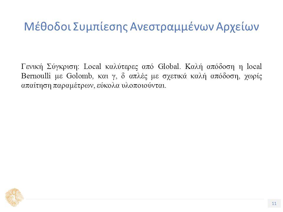 11 Τίτλος Ενότητας Μέθοδοι Συμπίεσης Ανεστραμμένων Αρχείων Γενική Σύγκριση: Local καλύτερες από Global.