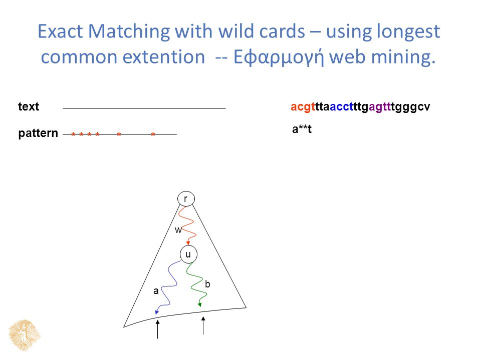 Exact Matching with wild cards – using longest common extention -- Εφαρμογή web mining.