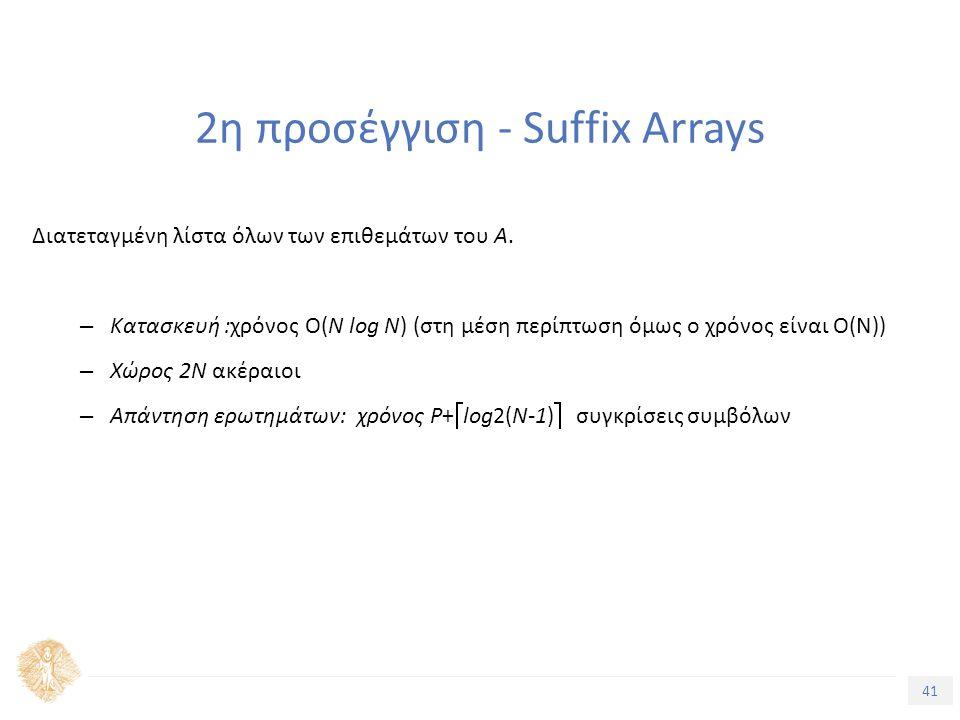 41 Τίτλος Ενότητας 2η προσέγγιση - Suffix Arrays Διατεταγμένη λίστα όλων των επιθεμάτων του Α.