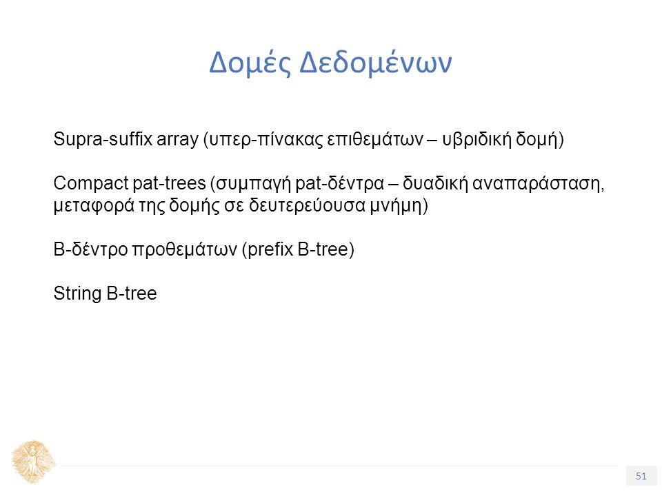 51 Τίτλος Ενότητας Δομές Δεδομένων Supra-suffix array (υπερ-πίνακας επιθεμάτων – υβριδική δομή) Compact pat-trees (συμπαγή pat-δέντρα – δυαδική αναπαράσταση, μεταφορά της δομής σε δευτερεύουσα μνήμη) Β-δέντρο προθεμάτων (prefix B-tree) String B-tree