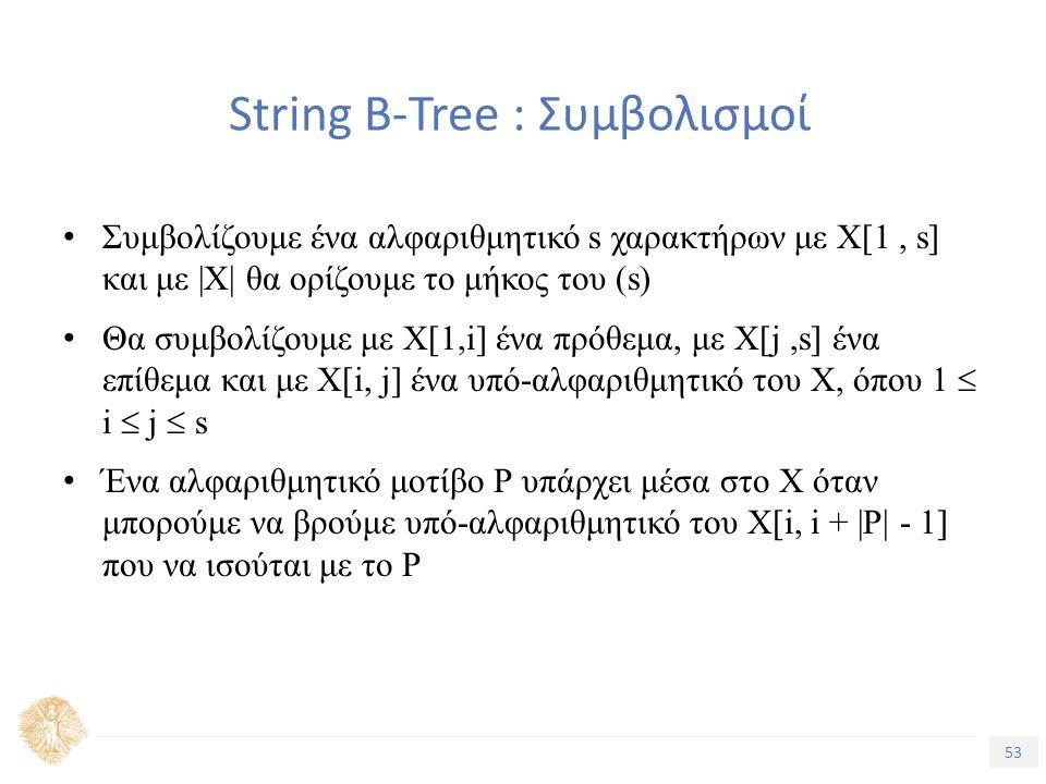 53 Τίτλος Ενότητας String B-Tree : Συμβολισμοί Συμβολίζουμε ένα αλφαριθμητικό s χαρακτήρων με Χ[1, s] και με |Χ| θα ορίζουμε το μήκος του (s) Θα συμβολίζουμε με Χ[1,i] ένα πρόθεμα, με Χ[j,s] ένα επίθεμα και με Χ[i, j] ένα υπό-αλφαριθμητικό του Χ, όπου 1  i  j  s Ένα αλφαριθμητικό μοτίβο Ρ υπάρχει μέσα στο Χ όταν μπορούμε να βρούμε υπό-αλφαριθμητικό του Χ[i, i + |P| - 1] που να ισούται με το Ρ