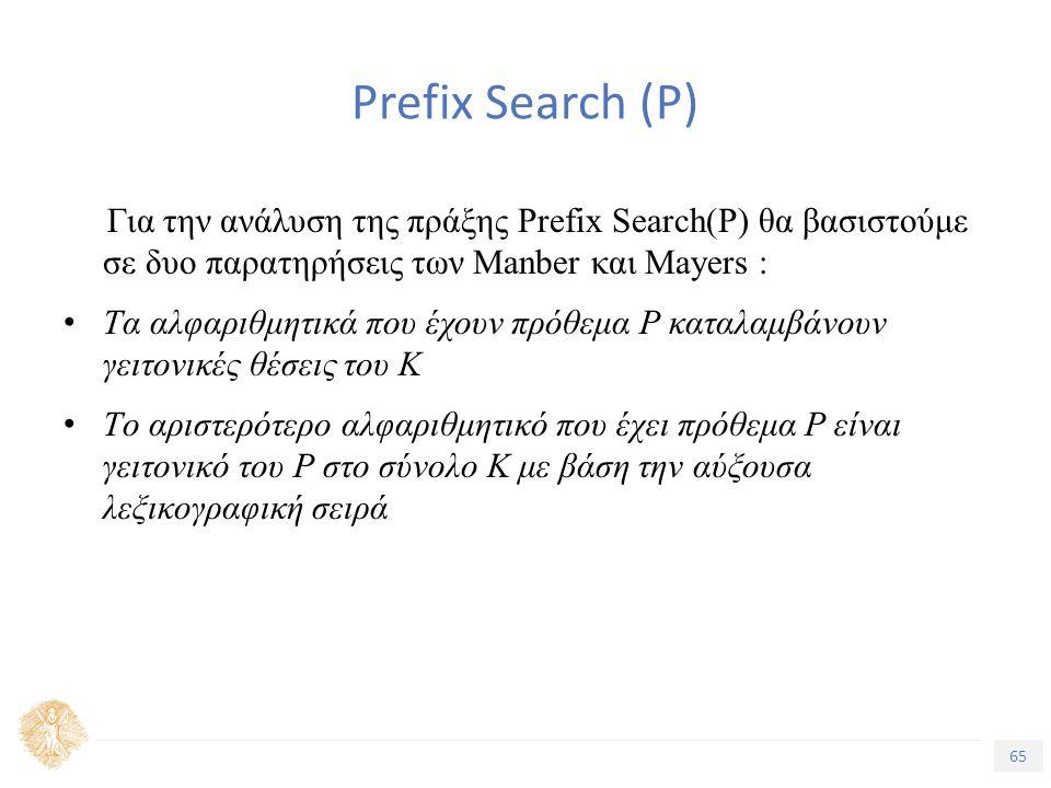 65 Τίτλος Ενότητας Prefix Search (P) Για την ανάλυση της πράξης Prefix Search(P) θα βασιστούμε σε δυο παρατηρήσεις των Manber και Mayers : Tα αλφαριθμητικά που έχουν πρόθεμα P καταλαμβάνουν γειτονικές θέσεις του Κ Tο αριστερότερο αλφαριθμητικό που έχει πρόθεμα P είναι γειτονικό του P στο σύνολο Κ με βάση την αύξουσα λεξικογραφική σειρά