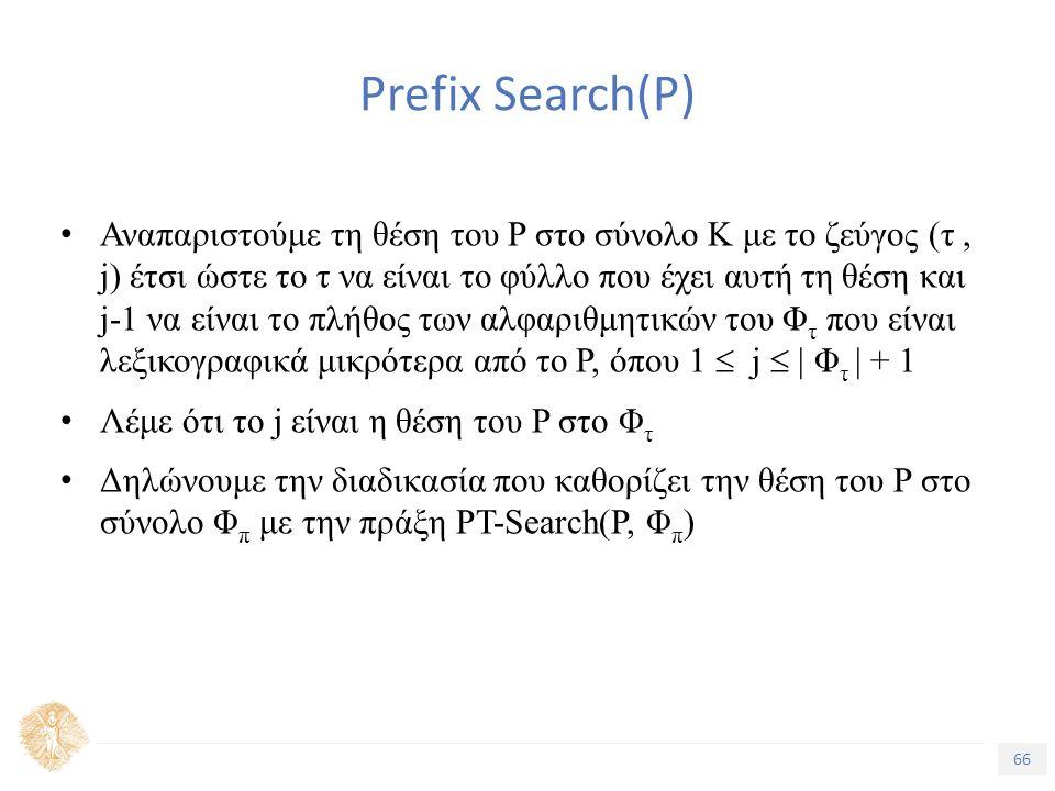 66 Τίτλος Ενότητας Prefix Search(P) Αναπαριστούμε τη θέση του P στο σύνολο K με το ζεύγος (τ, j) έτσι ώστε το τ να είναι το φύλλο που έχει αυτή τη θέση και j-1 να είναι το πλήθος των αλφαριθμητικών του Φ τ που είναι λεξικογραφικά μικρότερα από το P, όπου 1  j  | Φ τ | + 1 Λέμε ότι το j είναι η θέση του P στο Φ τ Δηλώνουμε την διαδικασία που καθορίζει την θέση του P στο σύνολο Φ π με την πράξη PT-Search(P, Φ π )