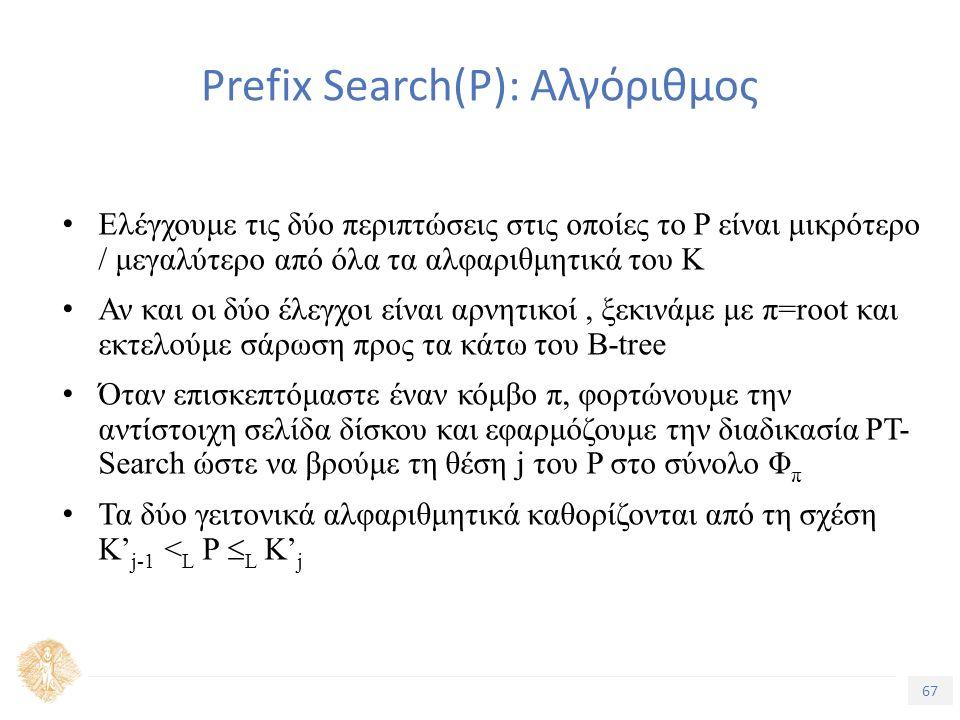 67 Τίτλος Ενότητας Prefix Search(Ρ): Αλγόριθμος Ελέγχουμε τις δύο περιπτώσεις στις οποίες το P είναι μικρότερο / μεγαλύτερο από όλα τα αλφαριθμητικά του K Αν και οι δύο έλεγχοι είναι αρνητικοί, ξεκινάμε με π=root και εκτελούμε σάρωση προς τα κάτω του B-tree Όταν επισκεπτόμαστε έναν κόμβο π, φορτώνουμε την αντίστοιχη σελίδα δίσκου και εφαρμόζουμε την διαδικασία PT- Search ώστε να βρούμε τη θέση j του P στο σύνολο Φ π Τα δύο γειτονικά αλφαριθμητικά καθορίζονται από τη σχέση K' j-1 < L P  L K' j