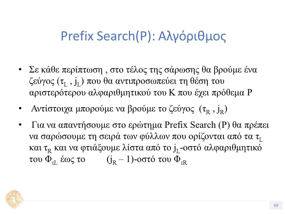 69 Τίτλος Ενότητας Prefix Search(Ρ): Αλγόριθμος Σε κάθε περίπτωση, στο τέλος της σάρωσης θα βρούμε ένα ζεύγος (τ L, j L ) που θα αντιπροσωπεύει τη θέση του αριστερότερου αλφαριθμητικού του Κ που έχει πρόθεμα Ρ Αντίστοιχα μπορούμε να βρούμε το ζεύγος (τ R, j R ) Για να απαντήσουμε στο ερώτημα Prefix Search (P) θα πρέπει να σαρώσουμε τη σειρά των φύλλων που ορίζονται από τα τ L και τ R και να φτιάξουμε λίστα από το j L -οστό αλφαριθμητικό του Φ τL έως το (j R – 1)-οστό του Φ τR