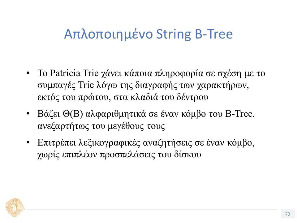 73 Τίτλος Ενότητας Απλοποιημένο String B-Tree Το Patricia Trie χάνει κάποια πληροφορία σε σχέση με το συμπαγές Trie λόγω της διαγραφής των χαρακτήρων, εκτός του πρώτου, στα κλαδιά του δέντρου Βάζει Θ(Β) αλφαριθμητικά σε έναν κόμβο του B-Tree, ανεξαρτήτως του μεγέθους τους Επιτρέπει λεξικογραφικές αναζητήσεις σε έναν κόμβο, χωρίς επιπλέον προσπελάσεις του δίσκου