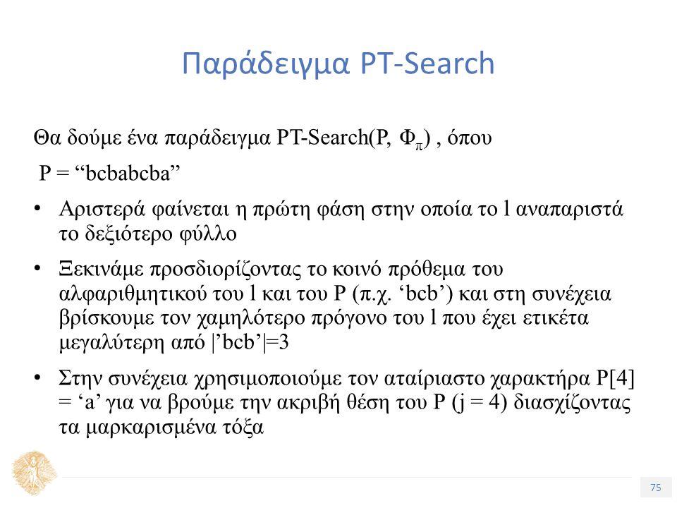 75 Τίτλος Ενότητας Παράδειγμα PT-Search Θα δούμε ένα παράδειγμα PT-Search(P, Φ π ), όπου P = bcbabcba Αριστερά φαίνεται η πρώτη φάση στην οποία το l αναπαριστά το δεξιότερο φύλλο Ξεκινάμε προσδιορίζοντας το κοινό πρόθεμα του αλφαριθμητικού του l και του Ρ (π.χ.