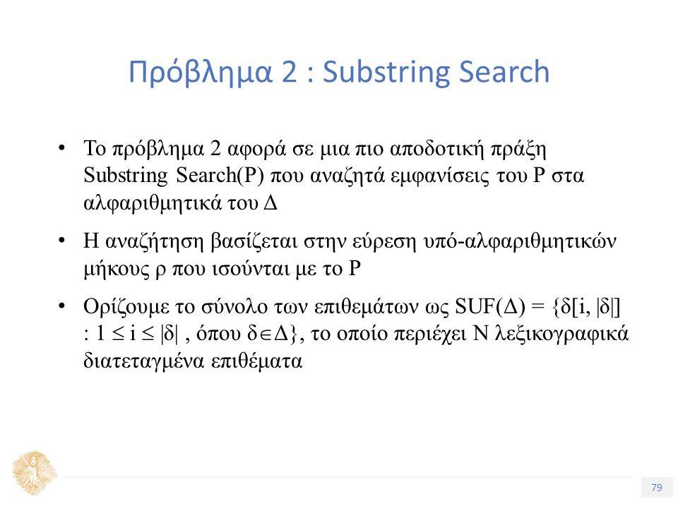 79 Τίτλος Ενότητας Πρόβλημα 2 : Substring Search Το πρόβλημα 2 αφορά σε μια πιο αποδοτική πράξη Substring Search(P) που αναζητά εμφανίσεις του Ρ στα αλφαριθμητικά του Δ Η αναζήτηση βασίζεται στην εύρεση υπό-αλφαριθμητικών μήκους ρ που ισούνται με το Ρ Ορίζουμε το σύνολο των επιθεμάτων ως SUF(Δ) = {δ[i, |δ|] : 1  i  |δ|, όπου δ  Δ}, το οποίο περιέχει Ν λεξικογραφικά διατεταγμένα επιθέματα