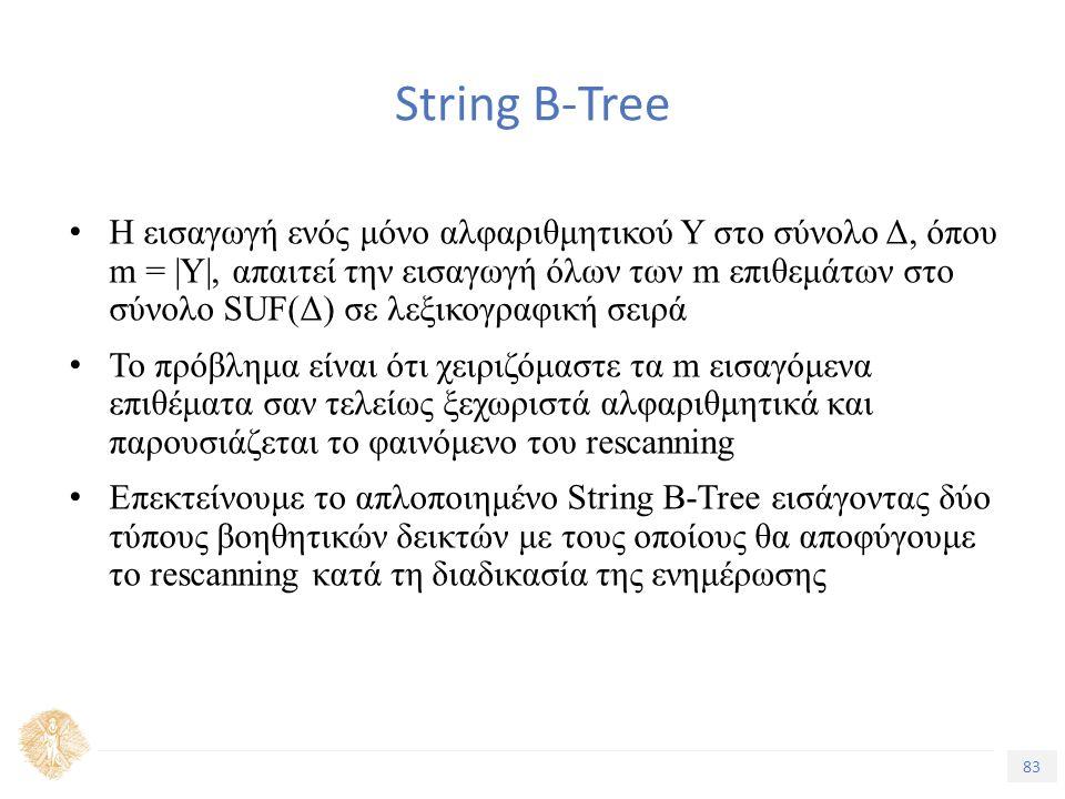 83 Τίτλος Ενότητας String B-Tree H εισαγωγή ενός μόνο αλφαριθμητικού Υ στο σύνολο Δ, όπου m = |Y|, απαιτεί την εισαγωγή όλων των m επιθεμάτων στο σύνολο SUF(Δ) σε λεξικογραφική σειρά Το πρόβλημα είναι ότι χειριζόμαστε τα m εισαγόμενα επιθέματα σαν τελείως ξεχωριστά αλφαριθμητικά και παρουσιάζεται το φαινόμενο του rescanning Επεκτείνουμε το απλοποιημένο String B-Tree εισάγοντας δύο τύπους βοηθητικών δεικτών με τους οποίους θα αποφύγουμε το rescanning κατά τη διαδικασία της ενημέρωσης