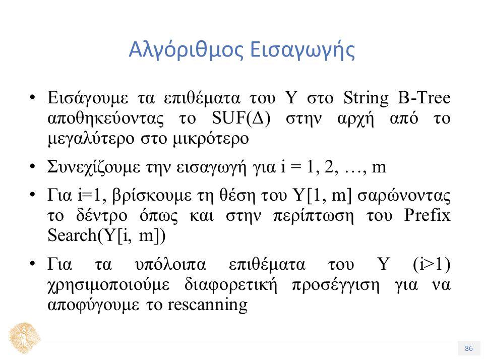 86 Τίτλος Ενότητας Αλγόριθμος Εισαγωγής Εισάγουμε τα επιθέματα του Υ στο String B-Tree αποθηκεύοντας το SUF(Δ) στην αρχή από το μεγαλύτερο στο μικρότερο Συνεχίζουμε την εισαγωγή για i = 1, 2, …, m Για i=1, βρίσκουμε τη θέση του Υ[1, m] σαρώνοντας το δέντρο όπως και στην περίπτωση του Prefix Search(Υ[i, m]) Για τα υπόλοιπα επιθέματα του Υ (i>1) χρησιμοποιούμε διαφορετική προσέγγιση για να αποφύγουμε το rescanning