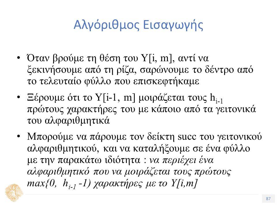 87 Τίτλος Ενότητας Αλγόριθμος Εισαγωγής Όταν βρούμε τη θέση του Υ[i, m], αντί να ξεκινήσουμε από τη ρίζα, σαρώνουμε το δέντρο από το τελευταίο φύλλο που επισκεφτήκαμε Ξέρουμε ότι το Υ[i-1, m] μοιράζεται τους h i-1 πρώτους χαρακτήρες του με κάποιο από τα γειτονικά του αλφαριθμητικά Μπορούμε να πάρουμε τον δείκτη succ του γειτονικού αλφαριθμητικού, και να καταλήξουμε σε ένα φύλλο με την παρακάτω ιδιότητα : να περιέχει ένα αλφαριθμητικό που να μοιράζεται τους πρώτους max{0, h i-1 -1) χαρακτήρες με το Υ[i,m]