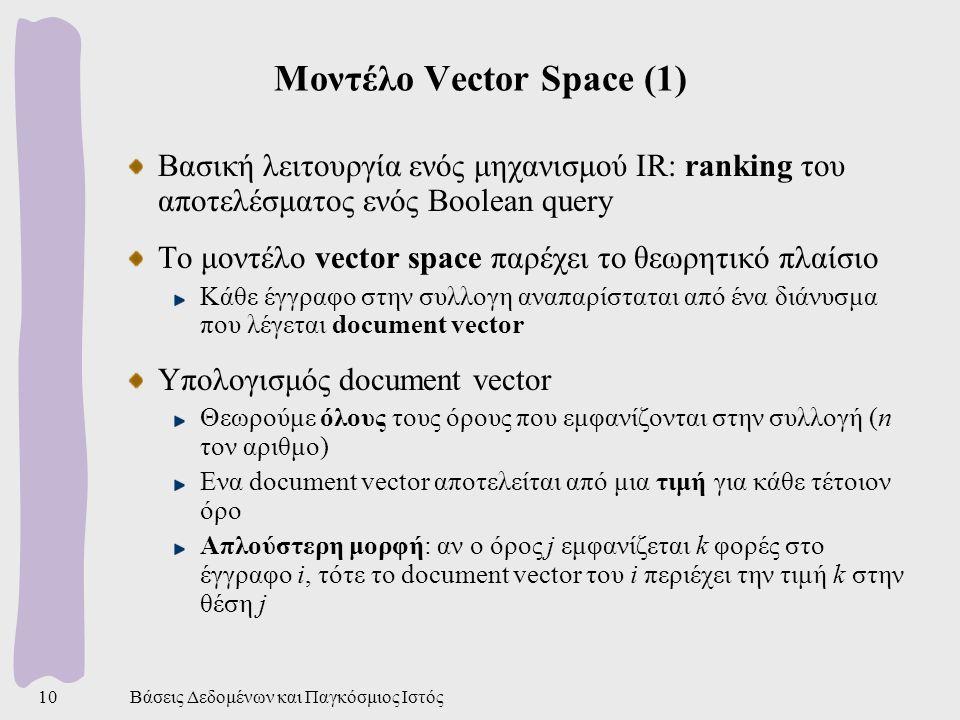 Βάσεις Δεδομένων και Παγκόσμιος Ιστός10 Μοντέλο Vector Space (1) Βασική λειτουργία ενός μηχανισμού IR: ranking του αποτελέσματος ενός Boolean query Το μοντέλο vector space παρέχει το θεωρητικό πλαίσιο Κάθε έγγραφο στην συλλογη αναπαρίσταται από ένα διάνυσμα που λέγεται document vector Υπολογισμός document vector Θεωρούμε όλους τους όρους που εμφανίζονται στην συλλογή (n τον αριθμο) Ενα document vector αποτελείται από μια τιμή για κάθε τέτοιον όρο Απλούστερη μορφή: αν ο όρος j εμφανίζεται k φορές στο έγγραφο i, τότε το document vector του i περιέχει την τιμή k στην θέση j
