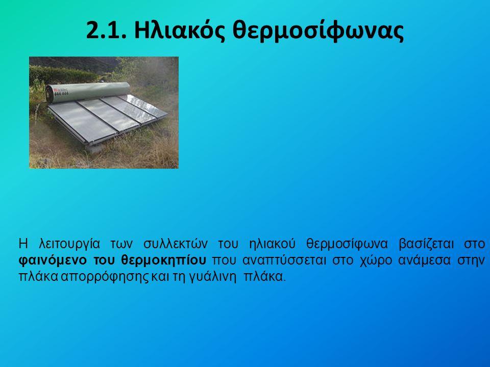 2.1. Ηλιακός θερμοσίφωνας Η λειτουργία των συλλεκτών του ηλιακού θερμοσίφωνα βασίζεται στο φαινόμενο του θερμοκηπίου που αναπτύσσεται στο χώρο ανάμεσα