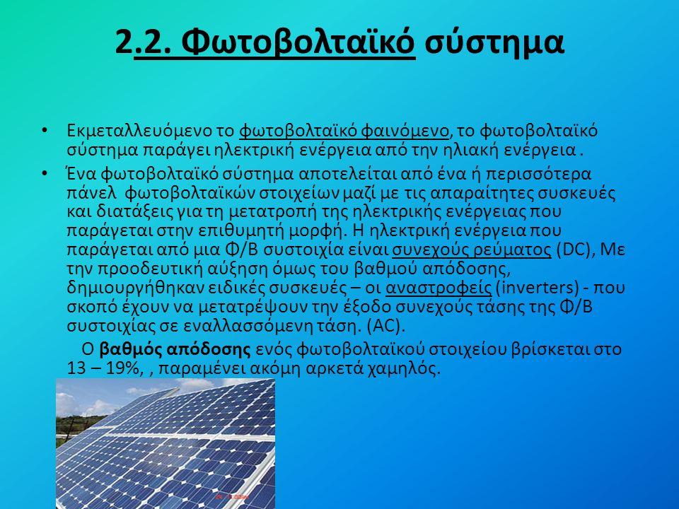 2.2. Φωτοβολταϊκό σύστημα Εκμεταλλευόμενο το φωτοβολταϊκό φαινόμενο, το φωτοβολταϊκό σύστημα παράγει ηλεκτρική ενέργεια από την ηλιακή ενέργεια. Ένα φ