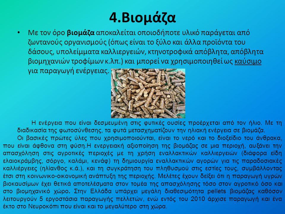 4.Βιομάζα Με τον όρο βιομάζα αποκαλείται οποιοδήποτε υλικό παράγεται από ζωντανούς οργανισμούς (όπως είναι το ξύλο και άλλα προϊόντα του δάσους, υπολείμματα καλλιεργειών, κτηνοτροφικά απόβλητα, απόβλητα βιομηχανιών τροφίμων κ.λπ.) και μπορεί να χρησιμοποιηθεί ως καύσιμο για παραγωγή ενέργειας.