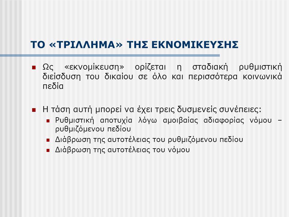 ΤΟ «ΤΡΙΛΛΗΜΑ» ΤΗΣ ΕΚΝΟΜΙΚΕΥΣΗΣ Ως «εκνομίκευση» ορίζεται η σταδιακή ρυθμιστική διείσδυση του δικαίου σε όλο και περισσότερα κοινωνικά πεδία Η τάση αυτ