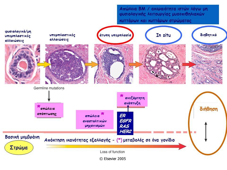 ER EGFR RAS HER2 In situ άτυπη υπερπλασία Απόκτηση ικανότητας εξαλλαγής - (*) μεταβολές σε ένα γονίδιο Απώλεια ΒΜ / ακεραιότητα ιστών λόγω μη φυσιολογικής λειτουργίας μυοεπιθηλιακών κυττάρων και κυττάρων στρώματος * απώλεια απόπτωσης φυσιολογικό/μη υπερπλαστικές αλλοιώσεις υπερπλαστικές αλλοιώσεις διηθητικό απώλεια * αναστολτικών μηχανισμών * ανεξάρτητη ανάπτυξη διήθηση Βασική μεμβράνη Στρώμα
