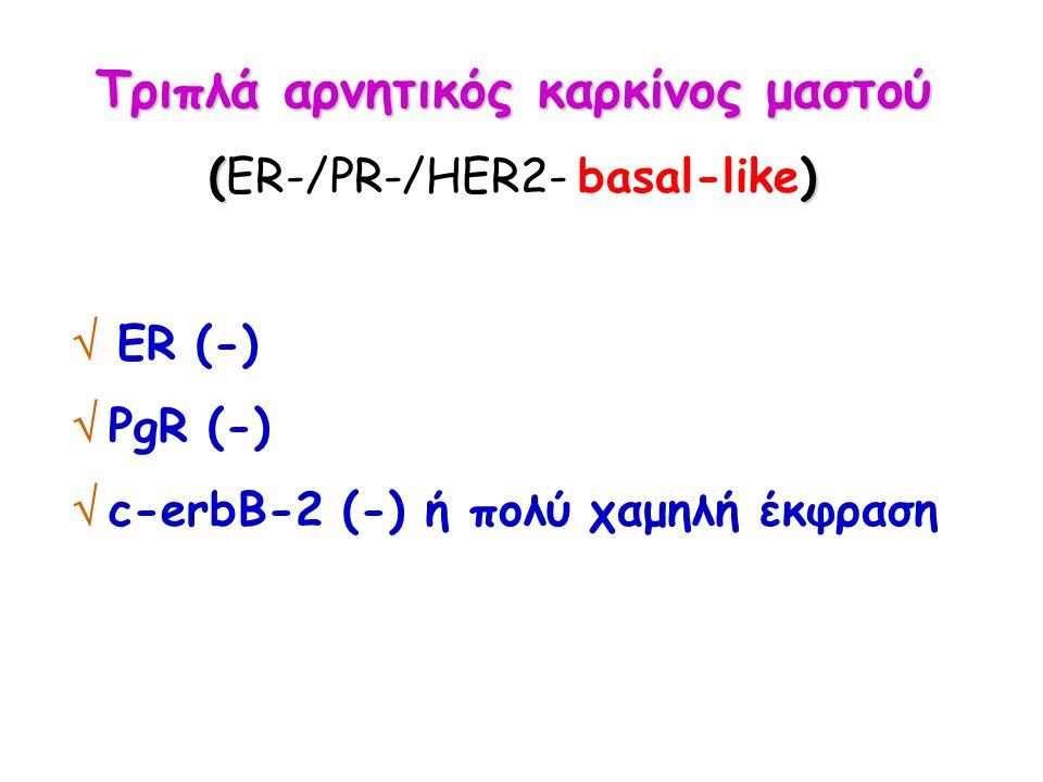 Τριπλά αρνητικός καρκίνος μαστού () (ER-/PR-/HER2- basal-like)  ER (-)  PgR (-)  c-erbB-2 (-) ή πολύ χαμηλή έκφραση