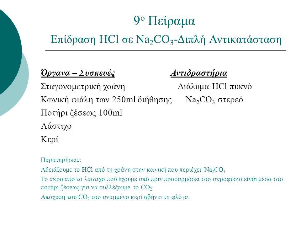 9 ο Πείραμα Επίδραση ΗCl σε Na 2 CO 3 -Διπλή Αντικατάσταση Όργανα – Συσκευές Αντιδραστήρια Σταγονομετρική χοάνη Διάλυμα HCl πυκνό Κωνική φιάλη των 250ml διήθησης Na 2 CO 3 στερεό Ποτήρι ζέσεως 100ml Λάστιχο Κερί Παρατηρήσεις: Αδειάζουμε το HCl από τη χοάνη στην κωνική που περιέχει Νa 2 CO 3 Το άκρο από το λάστιχο που έχουμε από πριν προσαρμόσει στο ακροφύσιο είναι μέσα στο ποτήρι ζέσεως για να συλλέξουμε το CO 2.