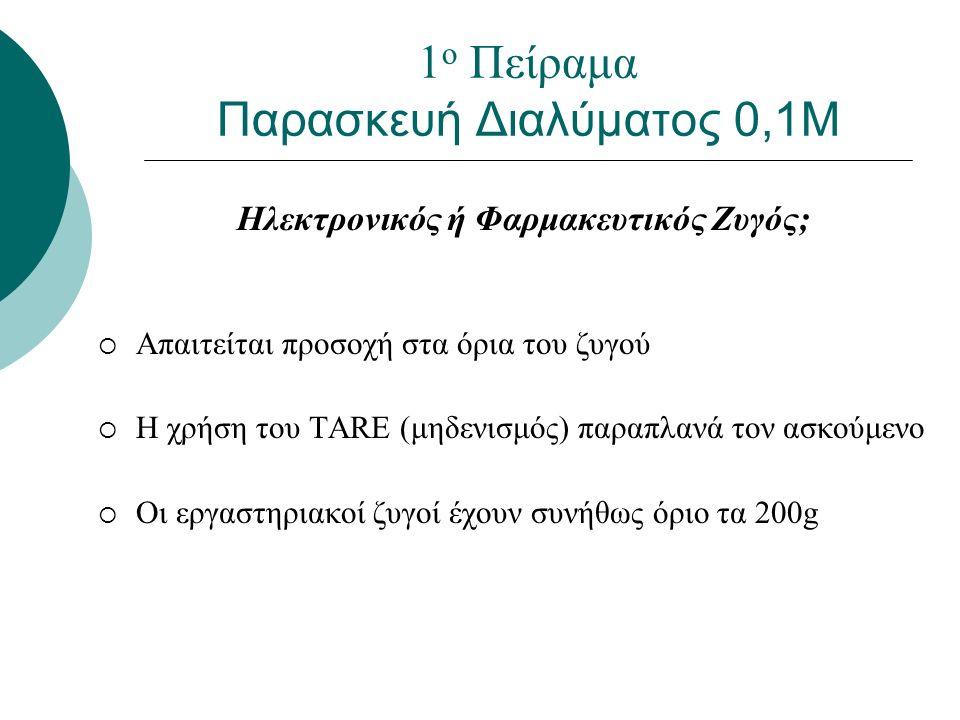 Ηλεκτρονικός ή Φαρμακευτικός Ζυγός;  Απαιτείται προσοχή στα όρια του ζυγού  Η χρήση του TARE (μηδενισμός) παραπλανά τον ασκούμενο  Οι εργαστηριακοί ζυγοί έχουν συνήθως όριο τα 200g 1 ο Πείραμα Παρασκευή Διαλύματος 0,1Μ