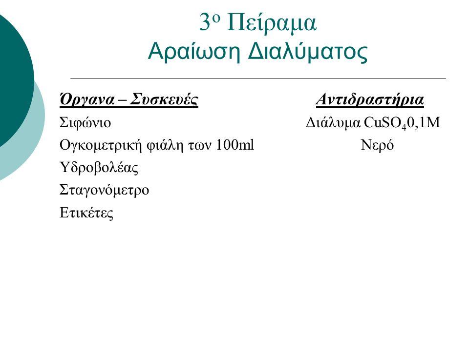 Όργανα – Συσκευές Αντιδραστήρια Σιφώνιο Διάλυμα CuSO 4 0,1Μ Ογκομετρική φιάλη των 100ml Νερό Υδροβολέας Σταγονόμετρο Ετικέτες 3 ο Πείραμα Αραίωση Διαλ
