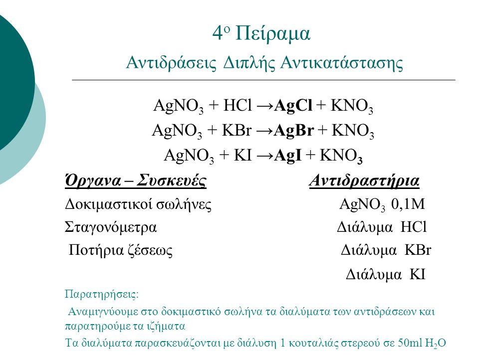 4 ο Πείραμα Αντιδράσεις Διπλής Αντικατάστασης ΑgNO 3 + HCl →AgCl + KNO 3 ΑgNO 3 + KBr →AgBr + KNO 3 ΑgNO 3 + KI →AgI + KNO 3 Όργανα – Συσκευές Αντιδραστήρια Δοκιμαστικοί σωλήνες ΑgNO 3 0,1Μ Σταγονόμετρα Διάλυμα HCl Ποτήρια ζέσεως Διάλυμα KBr Διάλυμα KI Παρατηρήσεις: Αναμιγνύουμε στο δοκιμαστικό σωλήνα τα διαλύματα των αντιδράσεων και παρατηρούμε τα ιζήματα Τα διαλύματα παρασκευάζονται με διάλυση 1 κουταλιάς στερεού σε 50ml H 2 O