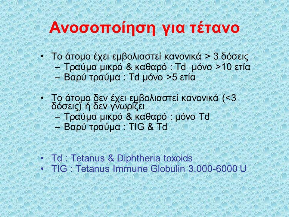 Ανοσοποίηση για τέτανο Το άτομο έχει εμβολιαστεί κανονικά > 3 δόσεις –Τραύμα μικρό & καθαρό : Td μόνο >10 ετία –Βαρύ τραύμα : Td μόνο >5 ετία Το άτομο δεν έχει εμβολιαστεί κανονικά (<3 δόσεις) ή δεν γνωρίζει –Τραύμα μικρό & καθαρό : μόνο Td –Βαρύ τραύμα : TIG & Td Td : Tetanus & Diphtheria toxoids TIG : Tetanus Immune Globulin 3,000-6000 U