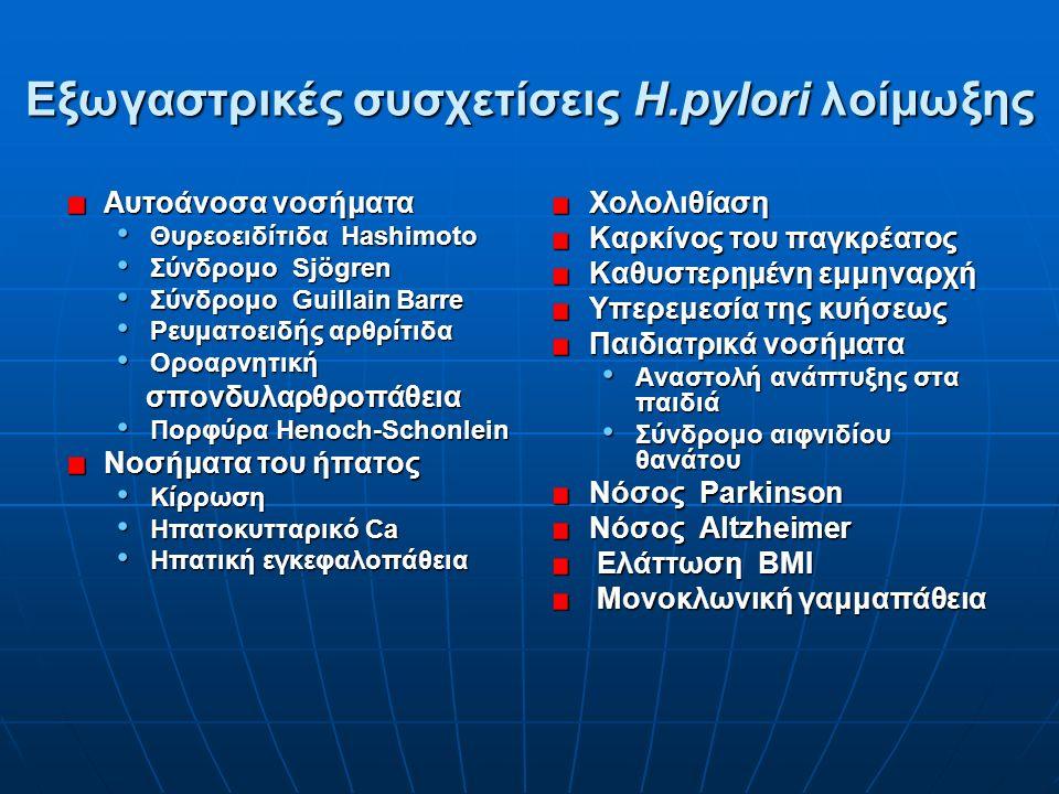 Eξωγαστρικές συσχετίσεις Η.pylori λοίμωξης Αυτοάνοσα νοσήματα Θυρεοειδίτιδα Hashimoto Θυρεοειδίτιδα Hashimoto Σύνδρομο Sjögren Σύνδρομο Sjögren Σύνδρομο Guillain Barre Σύνδρομο Guillain Barre Ρευματοειδής αρθρίτιδα Ρευματοειδής αρθρίτιδα Οροαρνητική Οροαρνητική σπονδυλαρθροπάθεια σπονδυλαρθροπάθεια Πορφύρα Henoch-Schonlein Πορφύρα Henoch-Schonlein Nοσήματα του ήπατος Kίρρωση Kίρρωση Hπατοκυτταρικό Ca Hπατοκυτταρικό Ca Hπατική εγκεφαλοπάθεια Hπατική εγκεφαλοπάθεια Xολολιθίαση Καρκίνος του παγκρέατος Καθυστερημένη εμμηναρχή Υπερεμεσία της κυήσεως Παιδιατρικά νοσήματα Αναστολή ανάπτυξης στα παιδιά Σύνδρομο αιφνιδίου θανάτου Nόσος Parkinson Nόσος Altzheimer Eλάττωση BMI Eλάττωση BMI Mονοκλωνική γαμμαπάθεια Mονοκλωνική γαμμαπάθεια