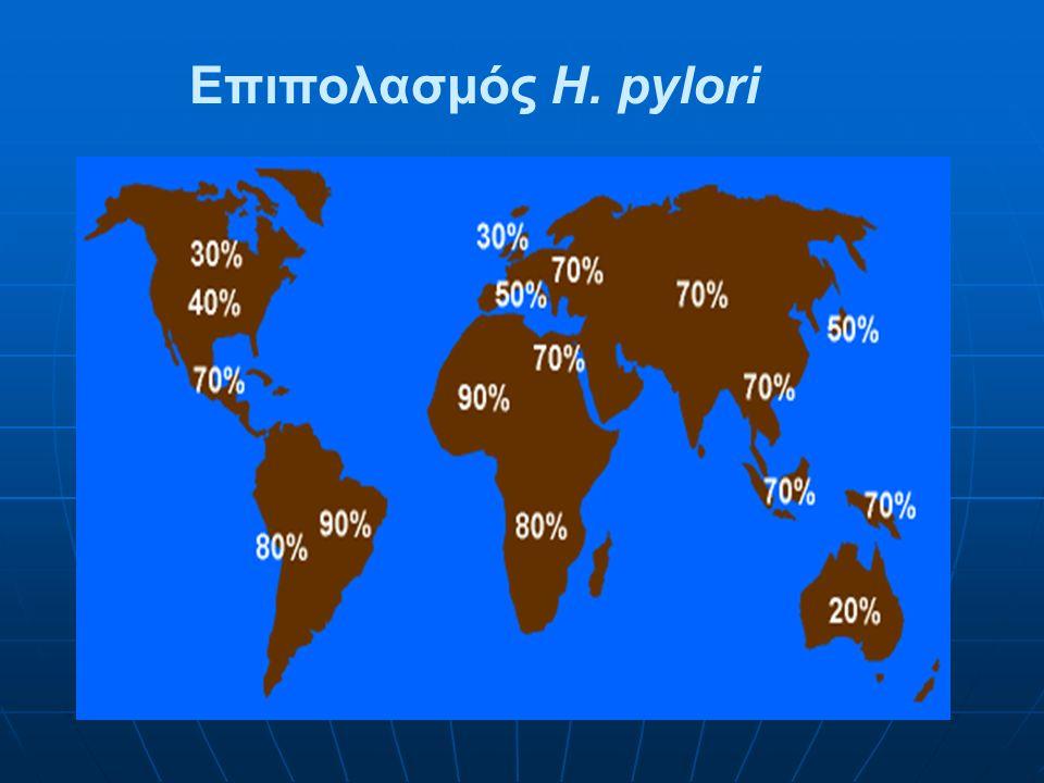 Η λοίμωξη από H.p σε αναπτυγμένες και αναπτυσσόμενες χώρες Η λοίμωξη από H.p σε αναπτυγμένες και αναπτυσσόμενες χώρες αντί Η.p IGg Hλικία (έτη)