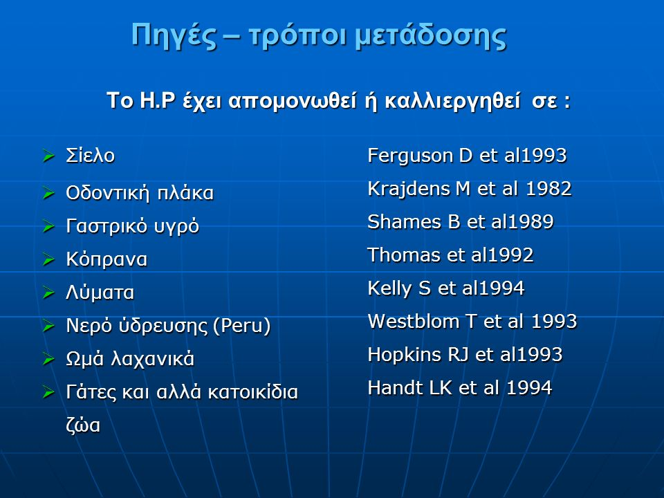 Πηγές – τρόποι μετάδοσης Το H.P έχει απομονωθεί ή καλλιεργηθεί σε : Πηγές – τρόποι μετάδοσης Το H.P έχει απομονωθεί ή καλλιεργηθεί σε :  Σίελο  Οδοντική πλάκα  Γαστρικό υγρό  Κόπρανα  Λύματα  Νερό ύδρευσης (Peru)  Ωμά λαχανικά  Γάτες και αλλά κατοικίδια ζώα Ferguson D et al1993 Krajdens M et al 1982 Shames B et al1989 Thomas et al1992 Kelly S et al1994 Westblom T et al 1993 Hopkins RJ et al1993 Handt LK et al 1994
