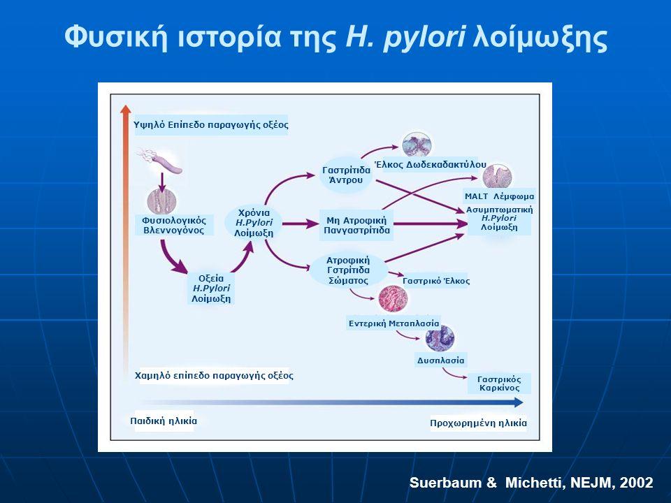 Suerbaum & Michetti, NEJM, 2002 Παθοφυσιολογία της H. pylori λοίμωξης