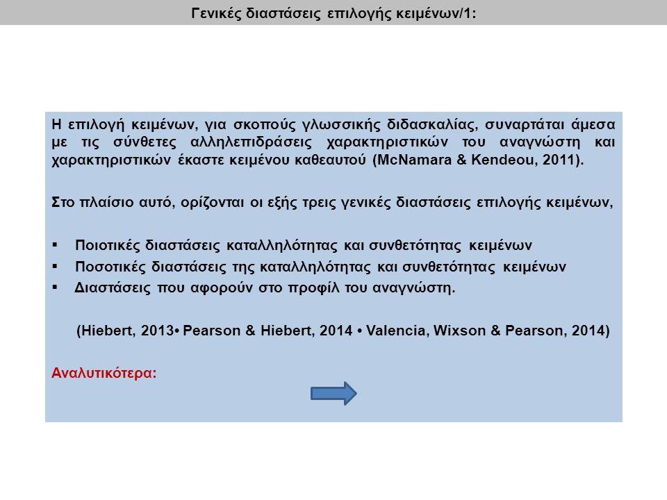 Η επιλογή κειμένων, για σκοπούς γλωσσικής διδασκαλίας, συναρτάται άμεσα με τις σύνθετες αλληλεπιδράσεις χαρακτηριστικών του αναγνώστη και χαρακτηριστικών έκαστε κειμένου καθεαυτού (McNamara & Kendeou, 2011).