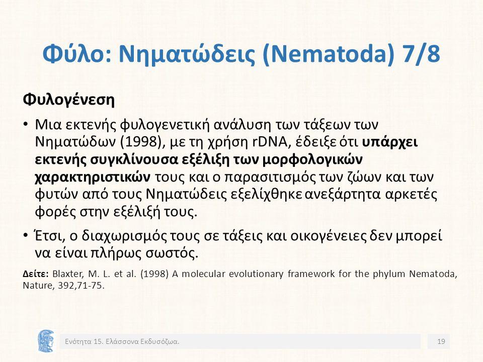 Φύλο: Νηματώδεις (Nematoda) 7/8 Φυλογένεση Μια εκτενής φυλογενετική ανάλυση των τάξεων των Νηματώδων (1998), με τη χρήση rDNA, έδειξε ότι υπάρχει εκτενής συγκλίνουσα εξέλιξη των μορφολογικών χαρακτηριστικών τους και ο παρασιτισμός των ζώων και των φυτών από τους Νηματώδεις εξελίχθηκε ανεξάρτητα αρκετές φορές στην εξέλιξή τους.