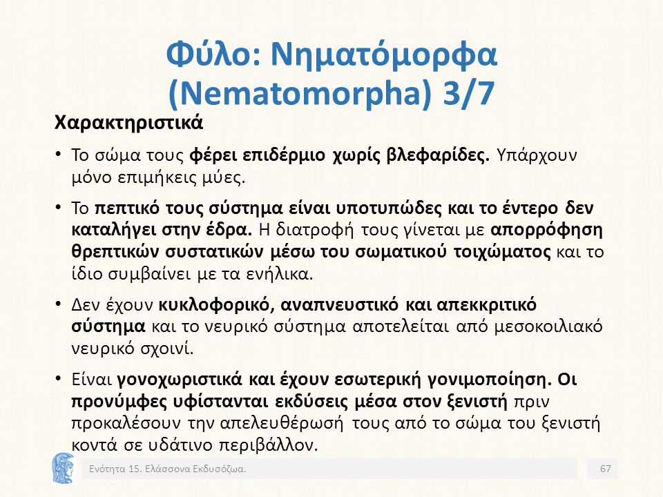 Φύλο: Νηματόμορφα (Nematomorpha) 3/7 Ενότητα 15.