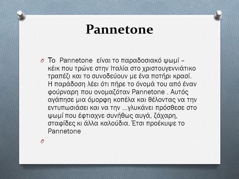 Pannetone O Το Pannetone είναι το παραδοσιακό ψωμί – κέικ που τρώνε στην Ιταλία στο χριστουγεννιάτικο τραπέζι και το συνοδεύουν με ένα ποτήρι κρασί.
