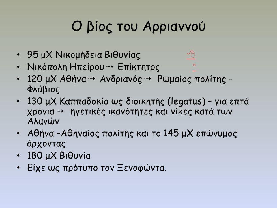 Ο βίος του Αρριαννού 95 μΧ Νικομήδεια Βιθυνίας   Νικόπολη Ηπείρου  Επίκτητος * * 120 μΧ Αθήνα  Ανδριανός  Ρωμαίος πολίτης – Φλάβιος 130 μΧ Καππαδοκία ως διοικητής (legatus) – για επτά χρόνια  ηγετικές ικανότητες και νίκες κατά των Αλανών Αθήνα –Αθηναίος πολίτης και το 145 μΧ επώνυμος άρχοντας 180 μΧ Βιθυνία Είχε ως πρότυπο τον Ξενοφώντα.