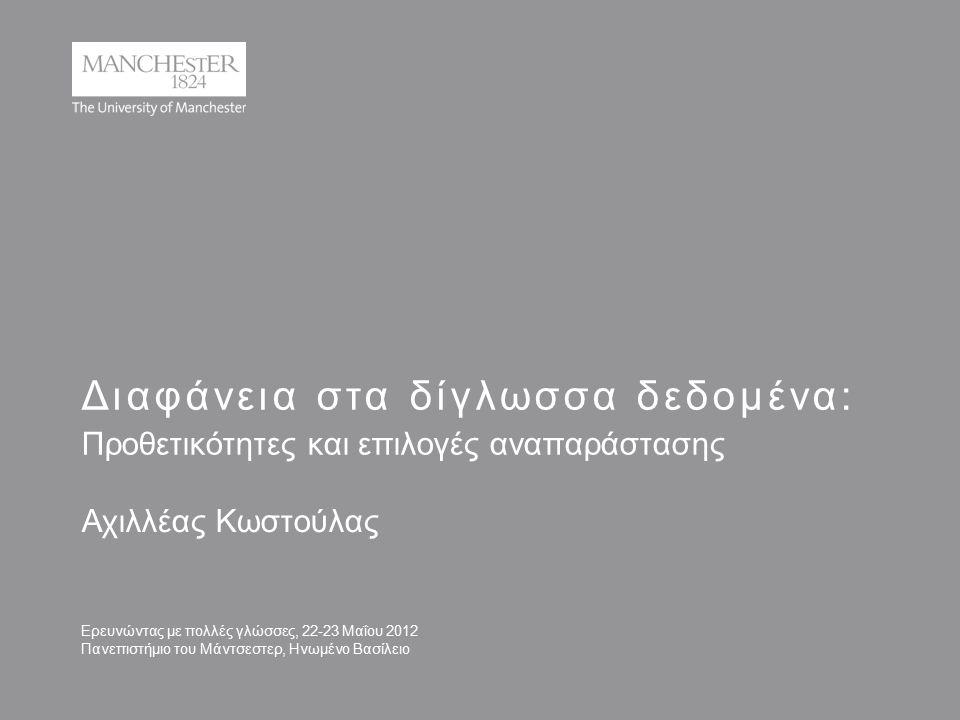 Διαφάνεια στα δίγλωσσα δεδομένα: Προθετικότητες και επιλογές αναπαράστασης Αχιλλέας Κωστούλας Ερευνώντας με πολλές γλώσσες, 22-23 Μαΐου 2012 Πανεπιστήμιο του Μάντσεστερ, Ηνωμένο Βασίλειο