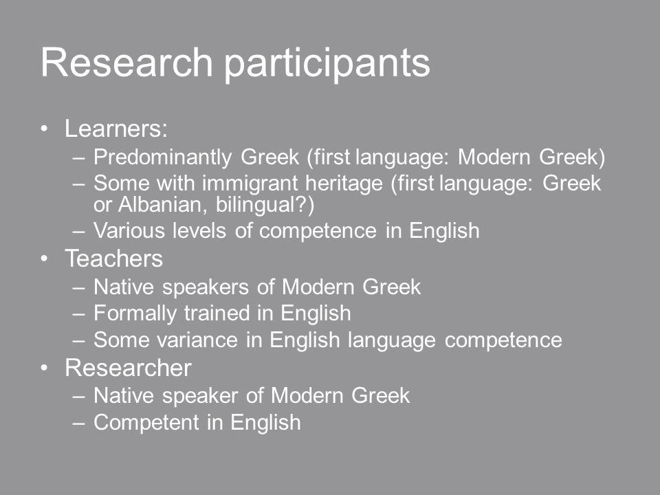 A linguistic hierarchy Teachers Proficient learners Not so proficient learners
