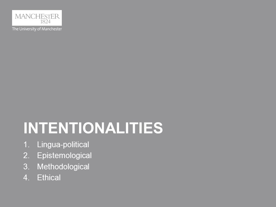 INTENTIONALITIES 1.Lingua-political 2.Epistemological 3.Methodological 4.Ethical