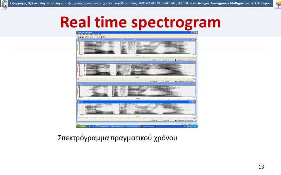 1313 Εφαρμογές Η/Υ στη Λογοπαθολογία - Εφαρμογές πραγματικού χρόνου λογοθεραπείας, ΤΜΗΜΑ ΛΟΓΟΘΕΡΑΠΕΙΑΣ, ΤΕΙ ΗΠΕΙΡΟΥ - Ανοιχτά Ακαδημαϊκά Μαθήματα στο ΤΕΙ Ηπείρου Σπεκτρόγραμμα πραγματικού χρόνου 13 Real time spectrogram
