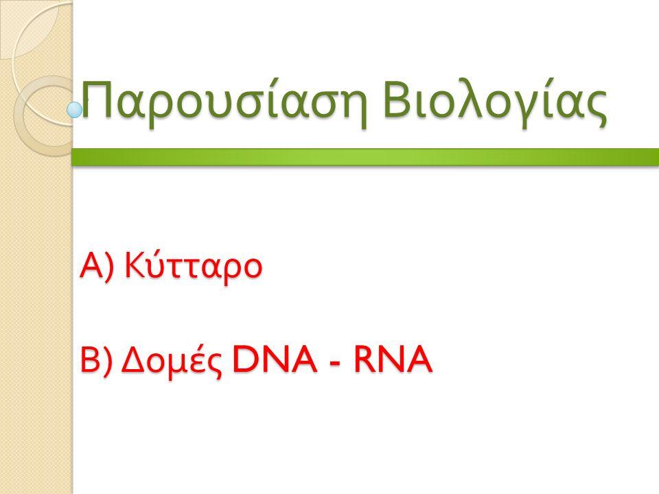 Α ) Κύτταρο Β ) Δομές DNA - RNA Παρουσίαση Βιολογίας