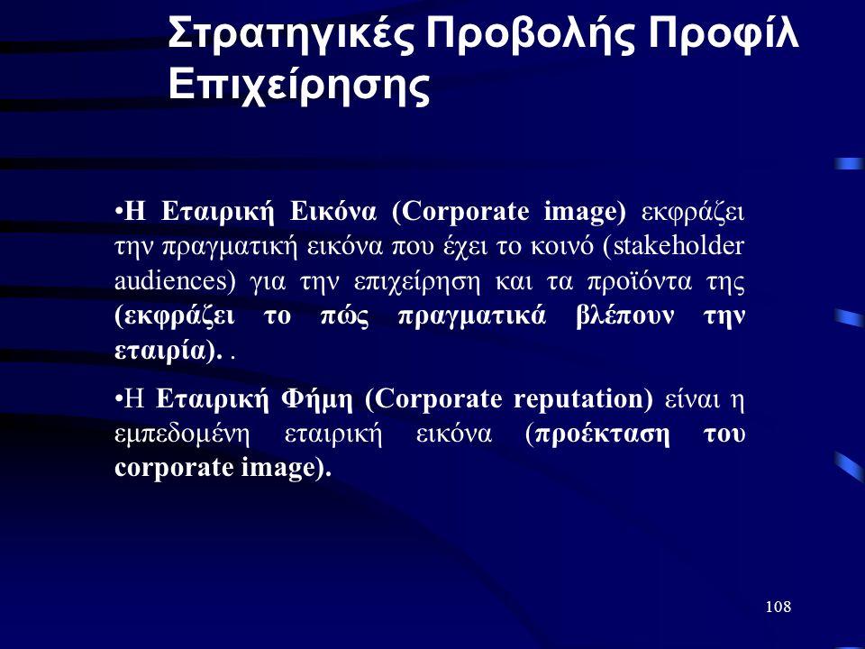 108 Η Εταιρική Εικόνα (Corporate image) εκφράζει την πραγματική εικόνα που έχει το κοινό (stakeholder audiences) για την επιχείρηση και τα προϊόντα της (εκφράζει το πώς πραγματικά βλέπουν την εταιρία)..