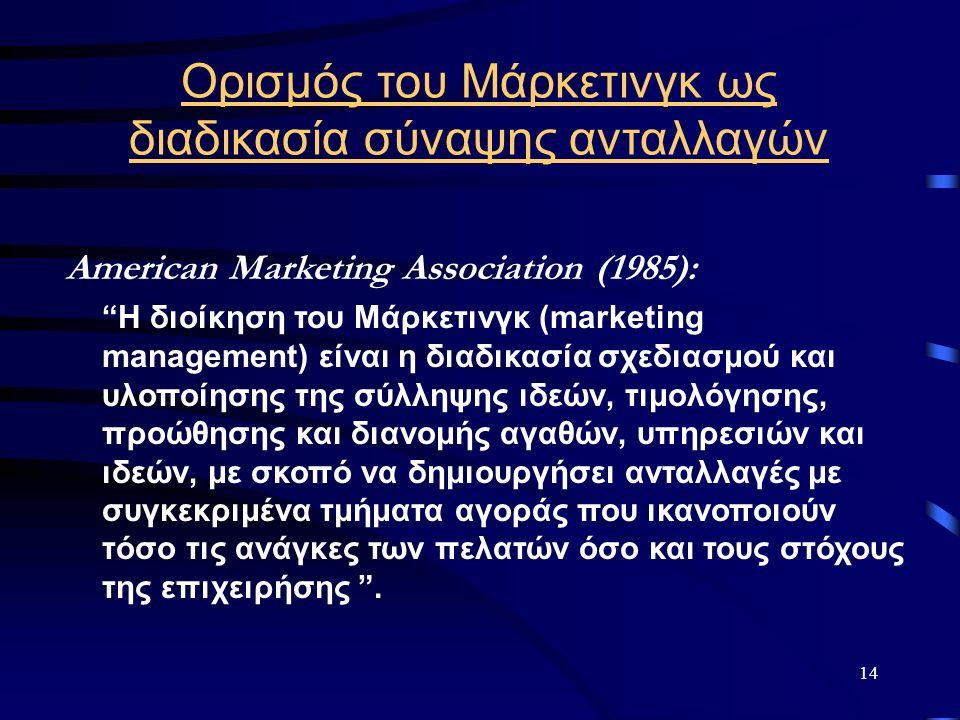 """14 Ορισμός του Μάρκετινγκ ως διαδικασία σύναψης ανταλλαγών American Marketing Association (1985): """"Η διοίκηση του Μάρκετινγκ (marketing management) εί"""